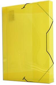 PP Krabice na spisy A4 3 klopy s gumou - žlutá