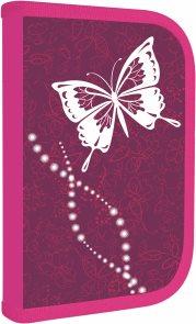 Školní penál - 1 patrový s chlopní - Motýl