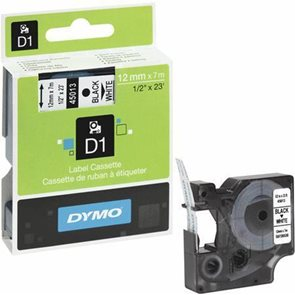 Páska DYMO D1 12 mm × 7 m, bílá-černá