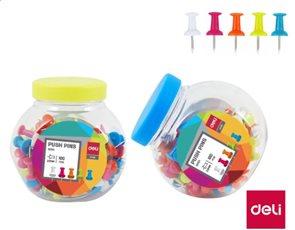 Deli Připínáčky barevné 100 ks v plastové dóze