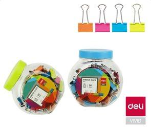 Deli Klip binder 15 mm, barevný, 50 ks v plastové dóze