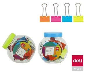 Deli Klip binder 25 mm, barevný, 12 ks v plastové dóze
