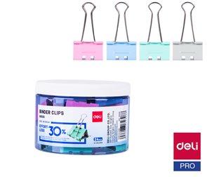 Deli Klip binder 32 mm, dóza 24 ks - mix pastelových barev