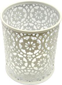 Drátěný stojánek na tužky kulatý, ornament - bílý