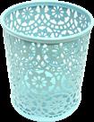 Drátěný stojánek na tužky kulatý, ornament - modrý
