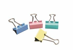 CONCORDE Klip binder 25 mm, dóza 48 ks - mix pastelových barev