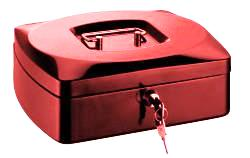 RON Kovová pokladna 25,5 × 20 × 9 cm - červená