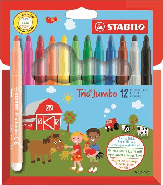 STABILO Trio JUMBO Vláknový fix - sada 12 barev