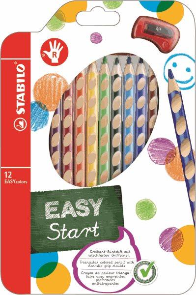 STABILO EASYcolors P Pastelky pro praváky - sada 12 barev s ořezávátkem