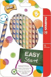 STABILO EASYcolors L Pastelky pro leváky - sada 12 barev s ořezávátkem