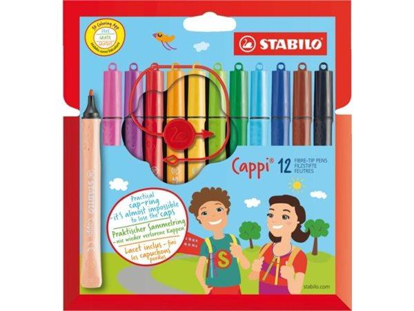 STABILO Cappi Vláknový fix - sada 12 barev