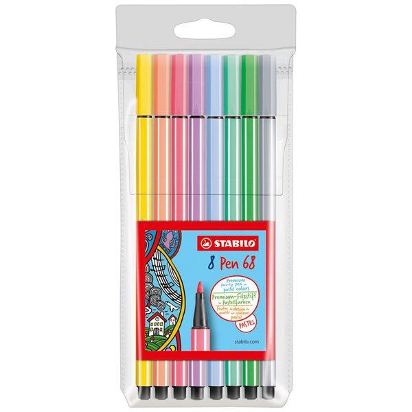 STABILO Pen 68 Vláknový fix - sada 8 pastelových barev