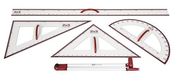 Set magnetických rýsovacích pomůcek - pravítko, 2x trojúhelník, úhloměr, kružítko