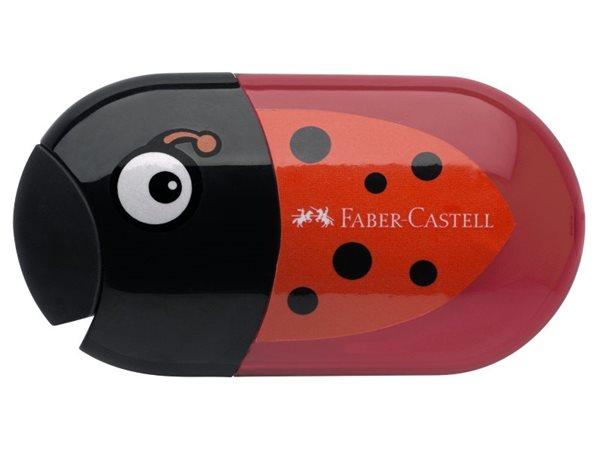 Ořezávátko Faber-Castell dvojité se zásobníkem a pryží - beruška