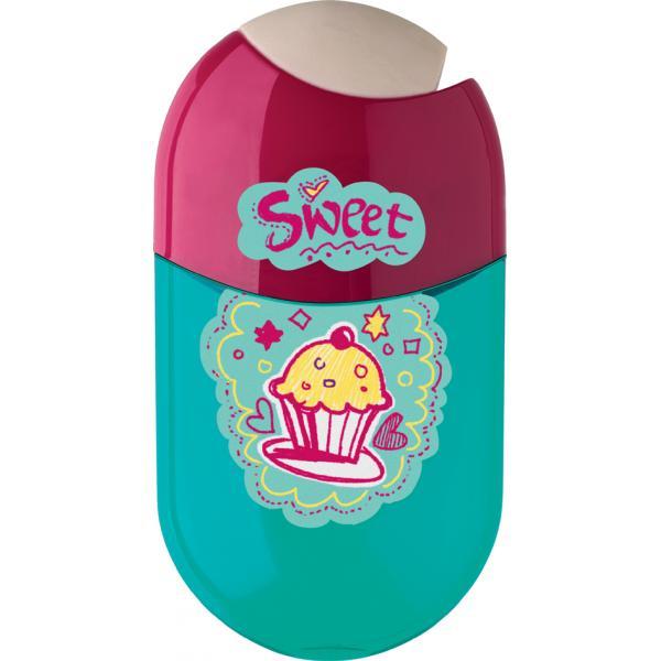 Ořezávátko Faber-Castell dvojité se zásobníkem a pryží - cupcake