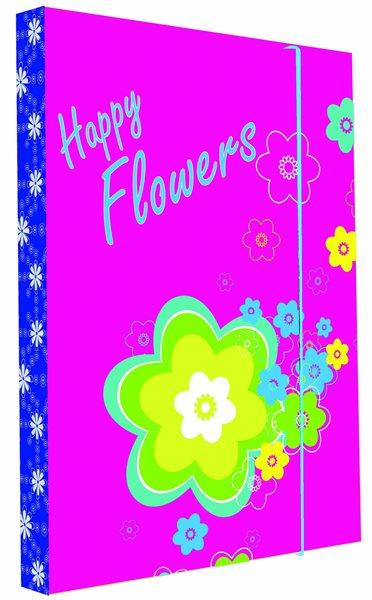 Karton PP Desky na sešity s boxem - Premium květiny