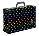 Kufřík lamino hranatý okovaný - Dots colors