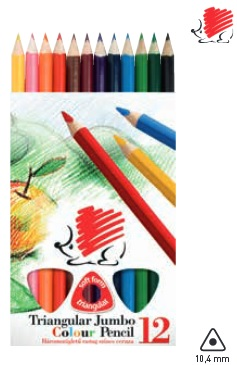ICO Školní pastelky trojhranné JUMBO - sada 12 ks