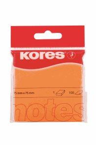 Kores Samolepicí bločky 75x75 neon - oranžové