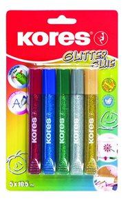 Kores Glitter Glue lepidlo se třpytkami 10,5 ml x 5 barev