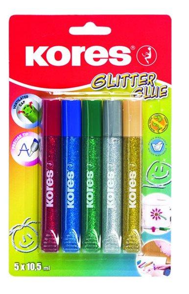 Kores Glitter Glue lepidlo se třpytkami 10,5x5 barev