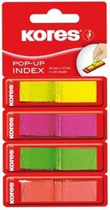 Kores Samolepicí záložky POP UP 45 × 12 mm - 4 barvy
