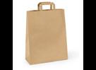 Papírová taška s plochým uchem 28 × 17 × 27 cm, 80 g - hnědá