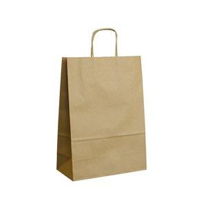 Papírová taška s krouceným uchem 24 × 11 × 33 cm, 90 g - hnědá