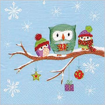 Stil Ubrousky 33 x 33 - Vánoční Sovy