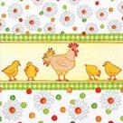 Stil Ubrousky 33 x 33 Velikonoce - Slepička s kuřátky