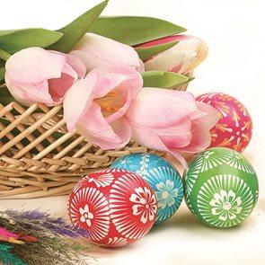 Stil Ubrousky 33 x 33 Velikonoce - Velikonoční vajíčka s tulipány