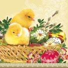 Stil Ubrousky 33 x 33 Velikonoce - Kuřátka v ošatce