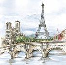 Stil Ubrousky 33 x 33 dekorativní - Paříž malovaná