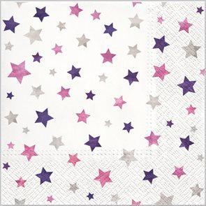 Stil Ubrousky 33 x 33 Vánoce - Fialové hvězdičky