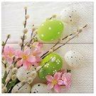 Stil Ubrousky 33 x 33 Velikonoce - vajíčka s větvičkou