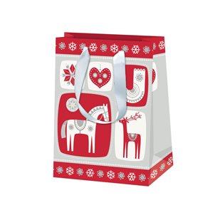 Vánoční dárková taška 16 x 22 x 8 cm - Severské Vánoce