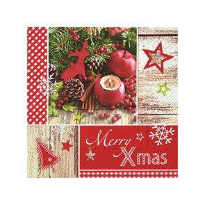 Vánoční ubrousky 25 x 25 cm, 20 ks - Veselé Vánoce