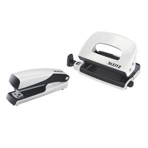 Leitz WOW Set mini sešívačka a děrovačka - perleť. bílá