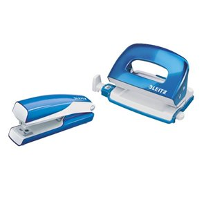 Leitz WOW Set mini sešívačka a děrovačka - metalická modrá