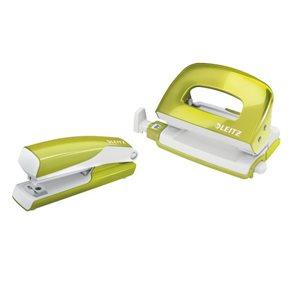 Leitz WOW Set mini sešívačka a děrovačka - metalická zelená