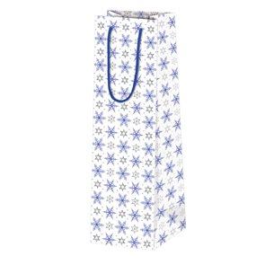 Vánoční dárková taška 10,5 × 36 × 10 cm - Modré krystalky