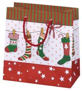 Vánoční dárková taška 16,5 × 16,5 × 9 cm - Vánoční punčochy
