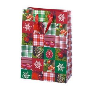 Vánoční dárková taška 19,5 × 28 × 10 cm - Švýcarská chata