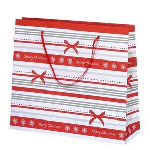 Vánoční dárková taška 36 x 31 x 10 cm - Pruhy