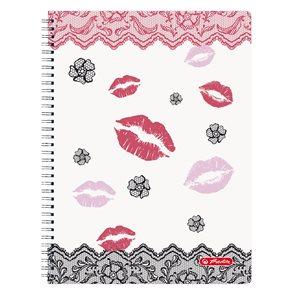 Herlitz Ladylike Spirálový blok A4 70listů  čtvereček - Kiss