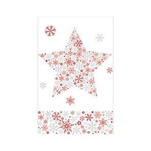 Vánoční ubrus 80 x 80 cm, papírový - Ledová hvězda/červená