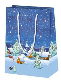 Vánoční dárková taška 16 × 22 × 8 cm - Zimní vesnice