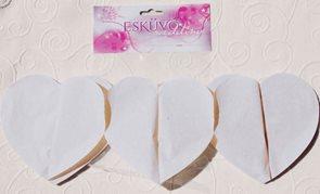 Girlanda papírová ve tvaru sdrce - bílá