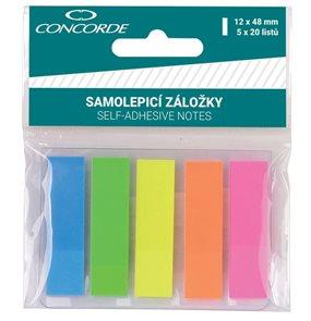 CONCORDE Samolepicí záložky plastové, neon 12 × 48 mm