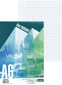 Blok lepený čtverečkovaný A6 - 100 listů